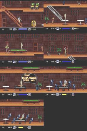 No cenário, MJ desliza pelo corrimão derrubando os inimigos que estiver embaixo. Mesas de bilhar decoram o ambiente. Na hora da dança todos os inimigos acompanham MJ dando um verdadeiro show dentro do videogame.