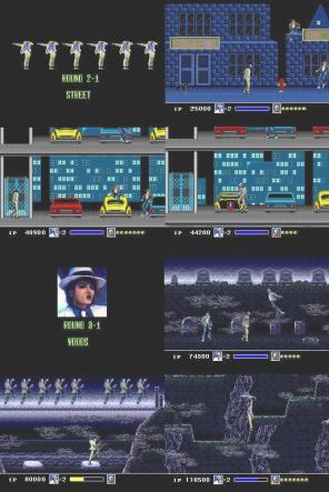 No estágio 2: Streets, vemos punks sentados em muros e carros e em Woods, no cemitério, todo os zumbis dançam Thriller junto com MJ.