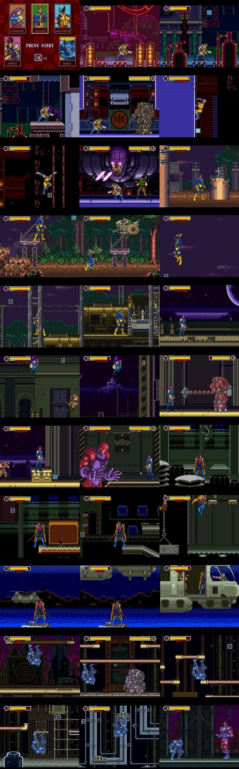 Wolverine, Cyclops, Psylocke, Gambit e Beast - Cada um possui uma missão própria.