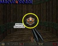 Chasm tem vários objetos para coletar durante o jogo que aumentam a ação do jogo. Este por exemplo é um escudo refletor. Qualquer inimigo que atirar contra o jogador enquanto estiver com o escudo, este inimigo será acertado com o próprio tiro. Sensacional!