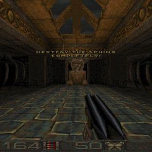Aqui vemos a Esfinge. Ao destruir a Esfinge, um guardião aparece para impedí-lo de prosseguir no jogo.