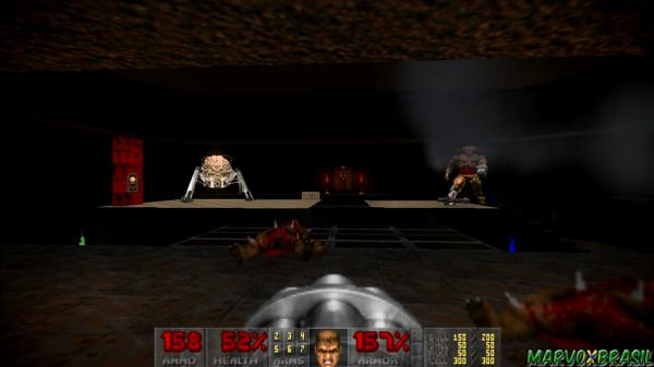 Na fase que encerra a 3ª parte em Doom 2, temos a Spiderdemon e o Cyberdemon ao mesmo tempo.