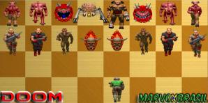 No 1º jogo, temos os soldados zumbis, passa para os Imps, em seguida aparecem os Cães-Demônio, que por vezes conseguem ser substituídos pelas Lost Souls. O Cacodemon e o Baron of Hell conseguem tomar tempo do jogador e aparecem em pontos estratégicos da fase.
