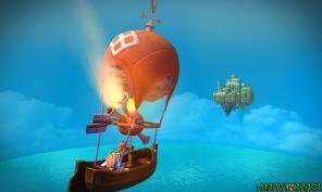A viagem de balão em direção a Ilha do Céu.