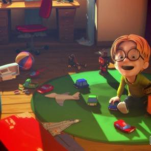 Felix adora os brinquedos do irmão.