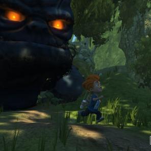 Max precisa fugir do Golem gigantesco.