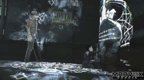 Sophia diante de um dos portais que revelam segredos de Salem. O universo do jogo possui cerca de 300 Artefatos para coletar.